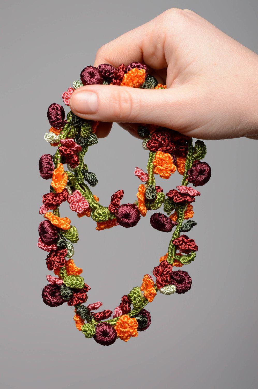 Handmade crochet necklace Blooming Garden photo 3