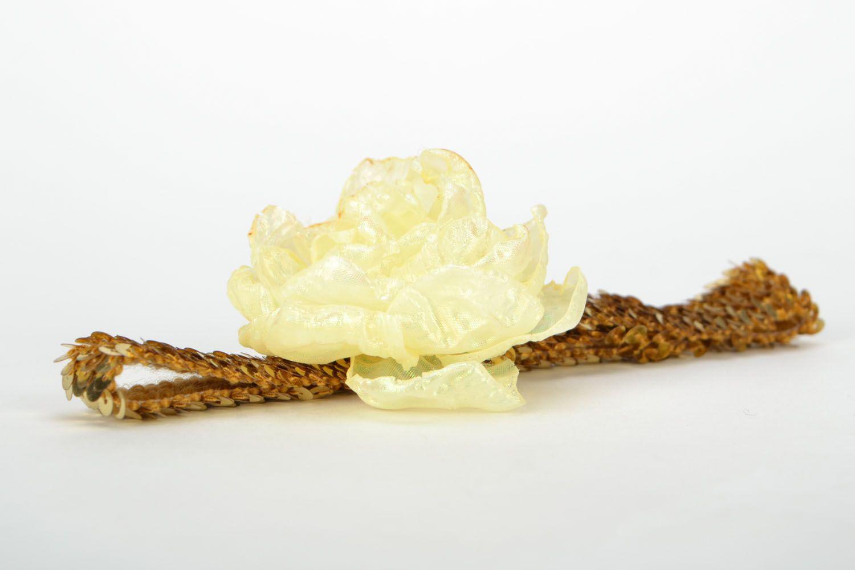 Handgemachtes Haarband mit Blume Sonne in Gold foto 4
