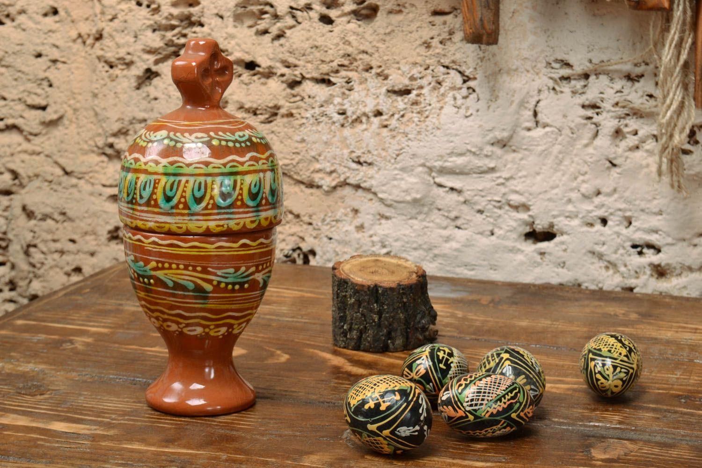 ceramic easter eggs Large handmade designer decorative ceramic Easter egg painted with glaze - MADEheart.com