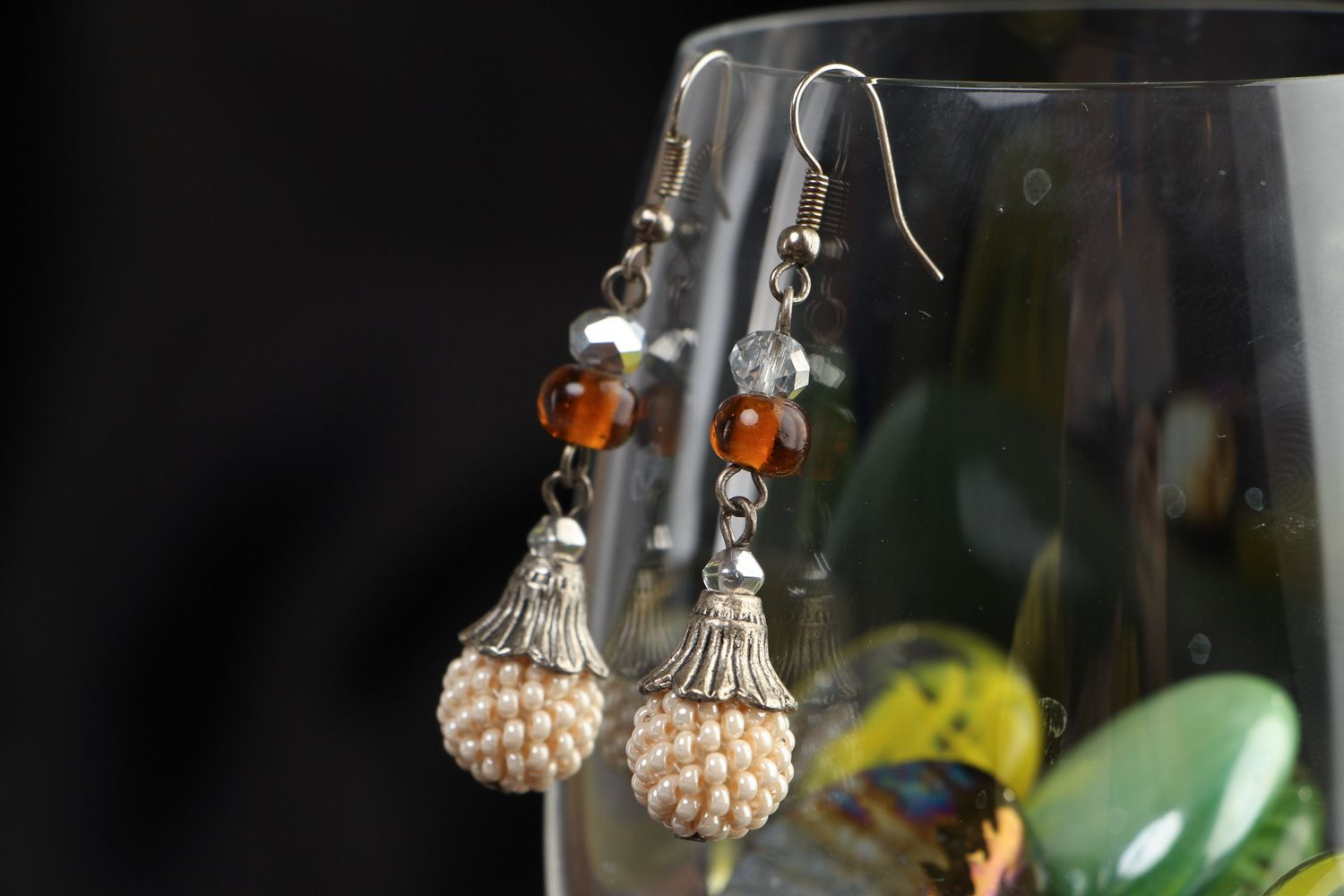 Handmade festive dangle earrings with Czech and glass beads in light color palette photo 4