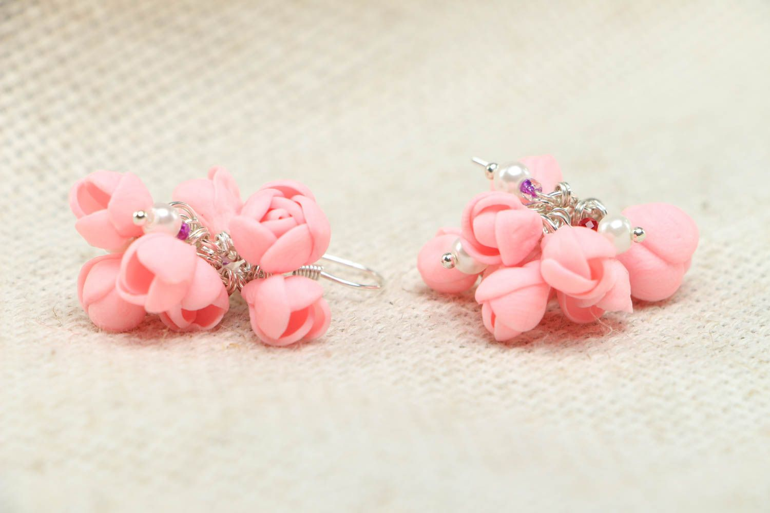 Pink plastic earrings photo 2