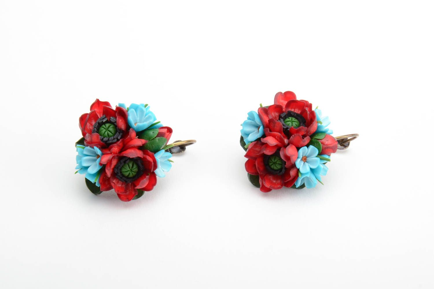 Handmade volume earrings with small red and blue polymer clay flower bouquets photo 2