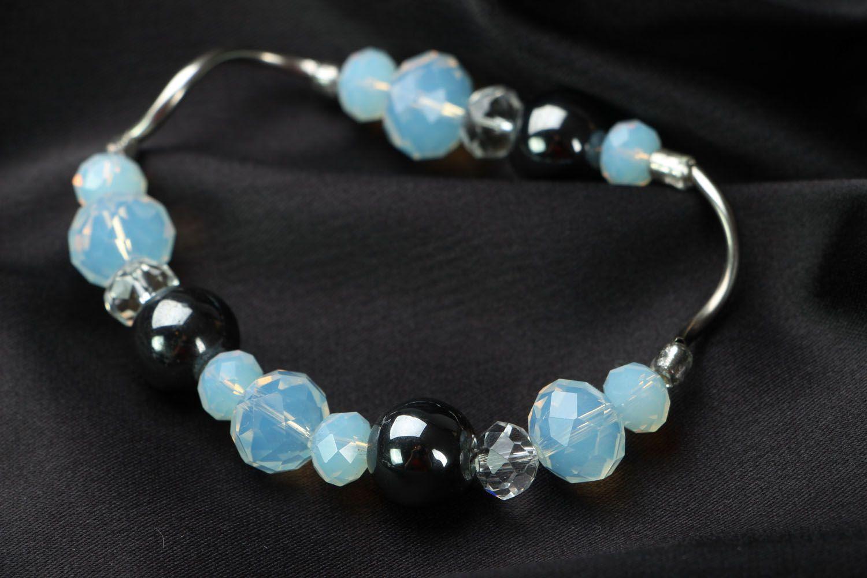 Jewelry set with hematite and moonstone photo 4