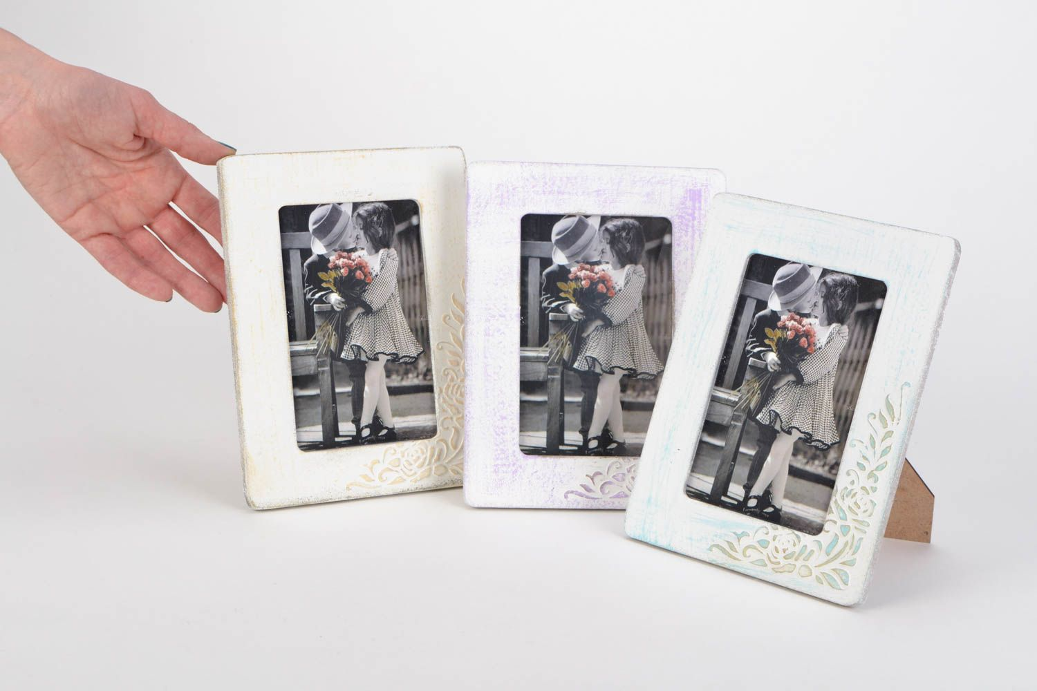 Set of 3 handmade vintage plywood photo frames of white color with ornaments photo 2