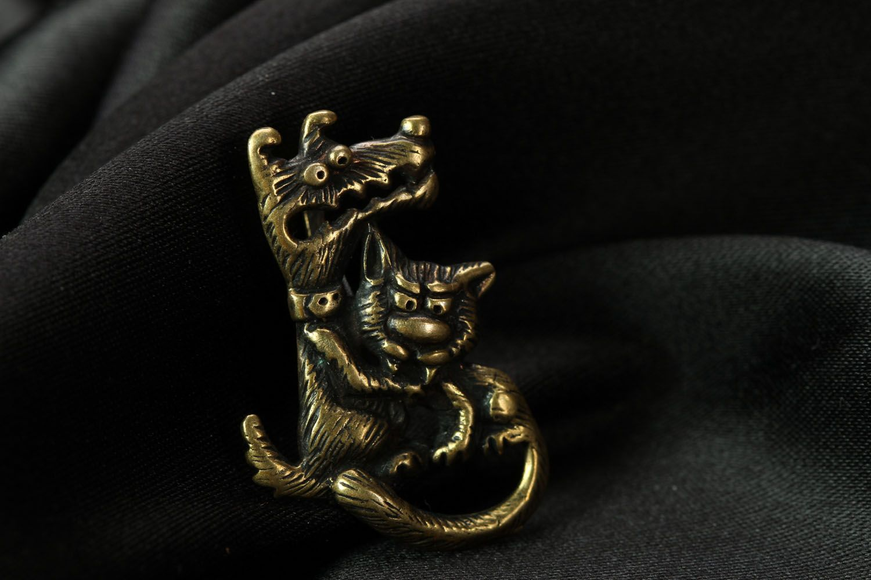 Bronze pendant Love is Evil photo 1