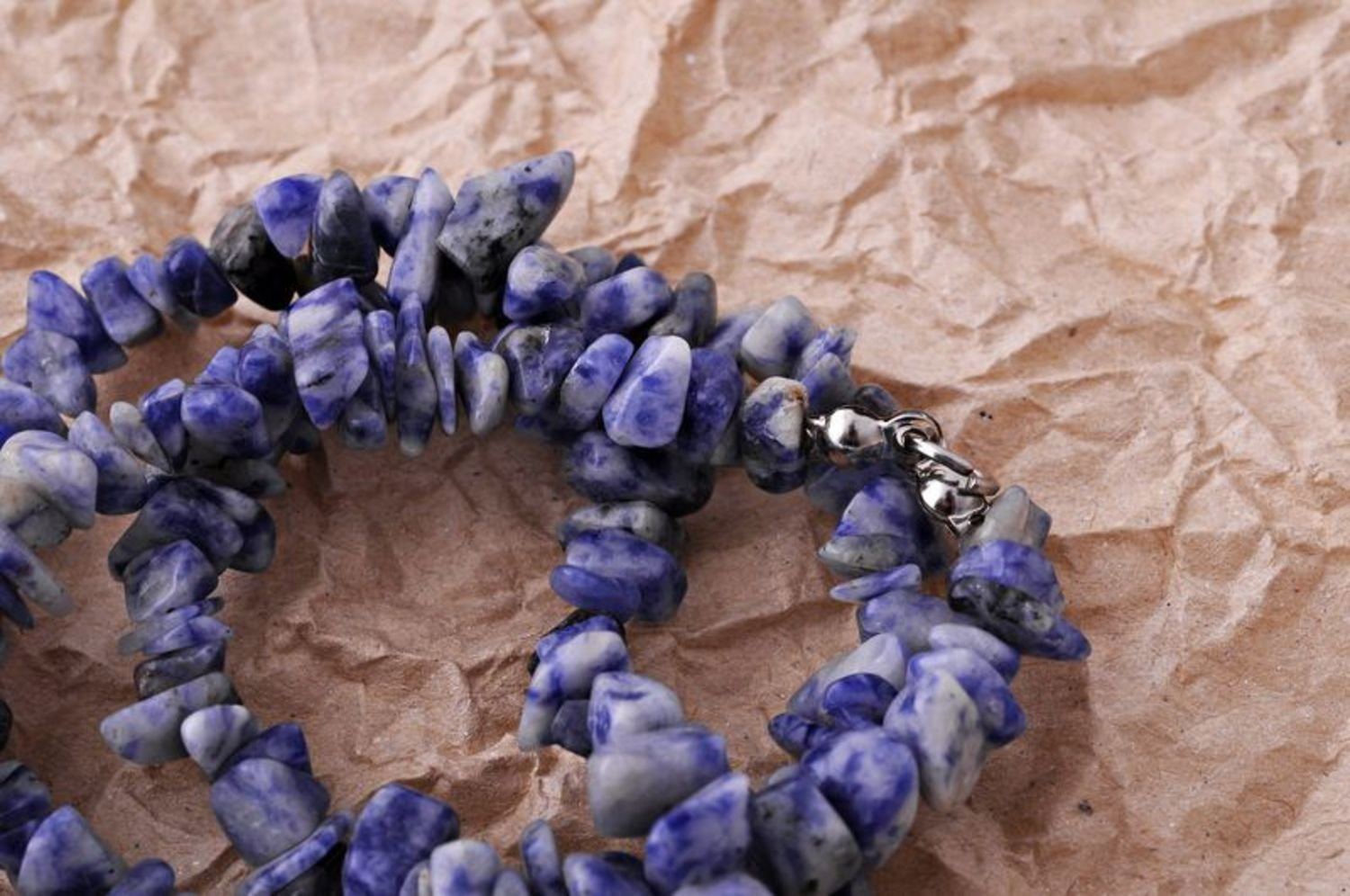 Bead necklace made of natural stone photo 2