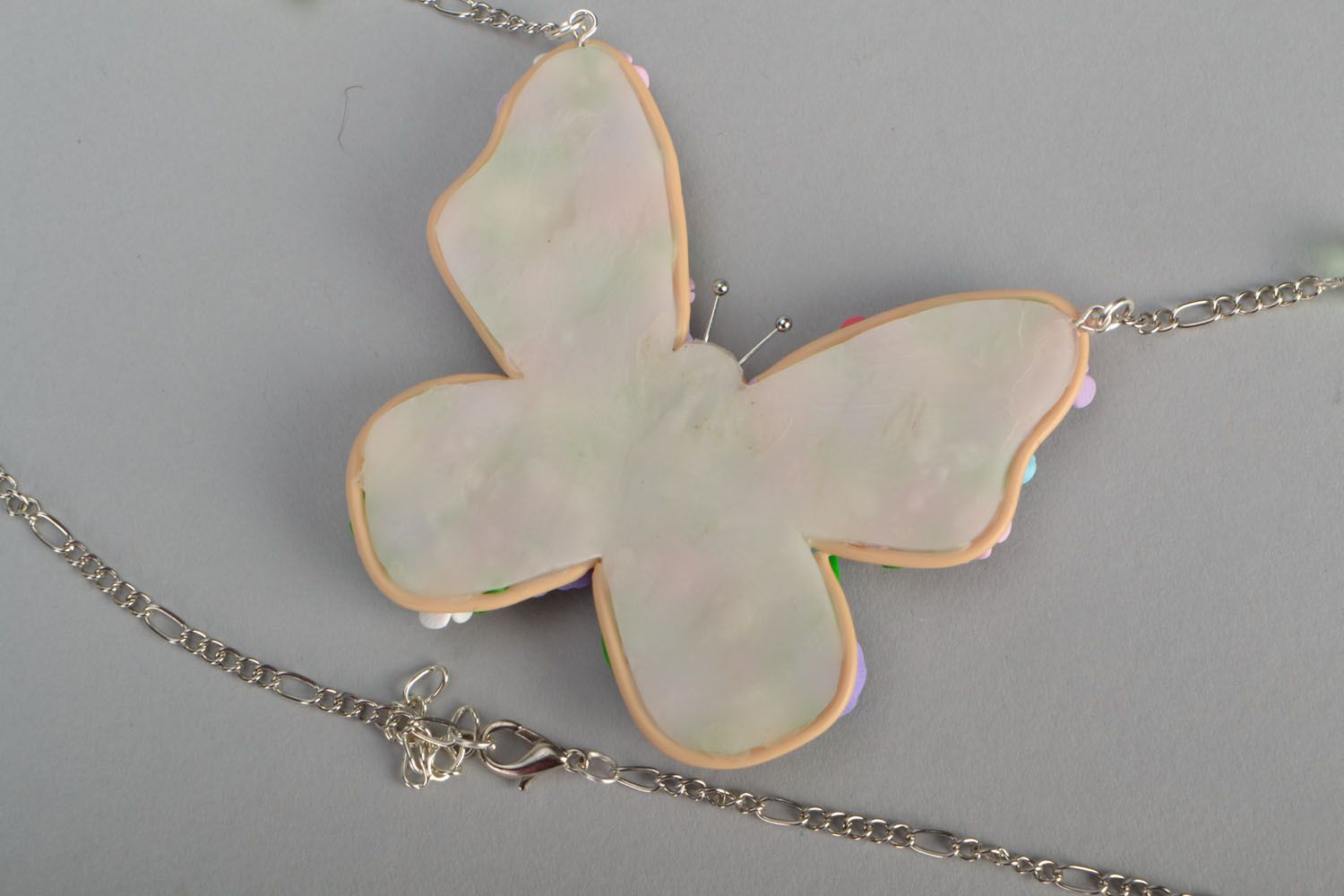 Polymer clay pendant Butterfly  photo 4