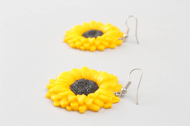 Polymer clay earrings Sunflowers photo 3