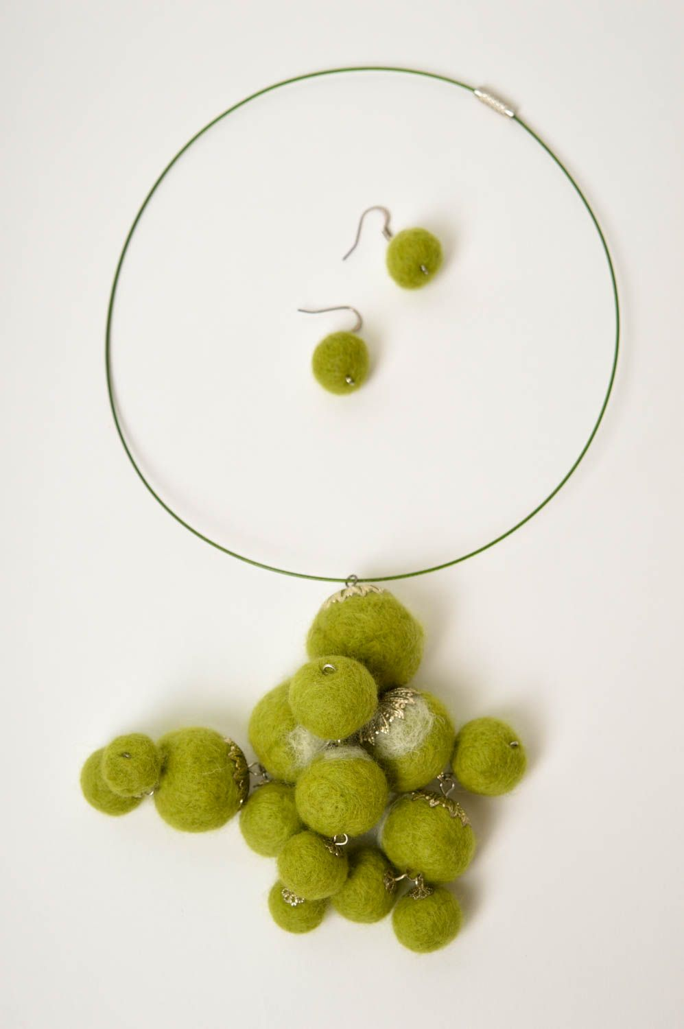 Handmade fashion woolen jewelry felted necklace woolen earrings with charms photo 4