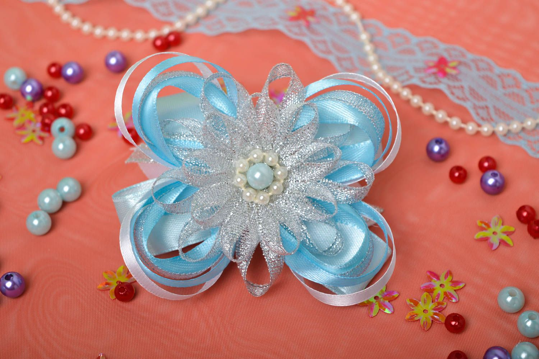 Handmade blue scrunchy stylish satin bow barrette scrunchies for children photo 1