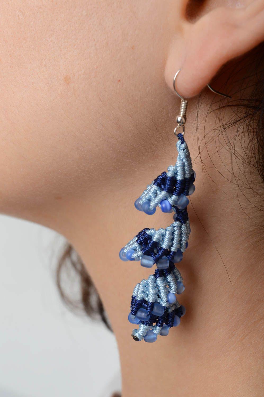dd6be3da615e pendientes largos Pendientes hechos a mano de abalorios azules bisutería  fina regalo original - MADEheart.