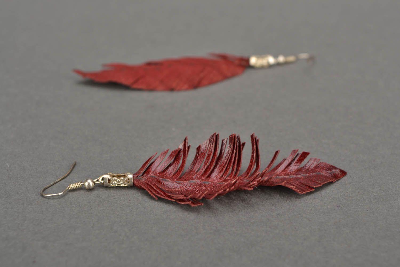 Leather leaf earrings  photo 5