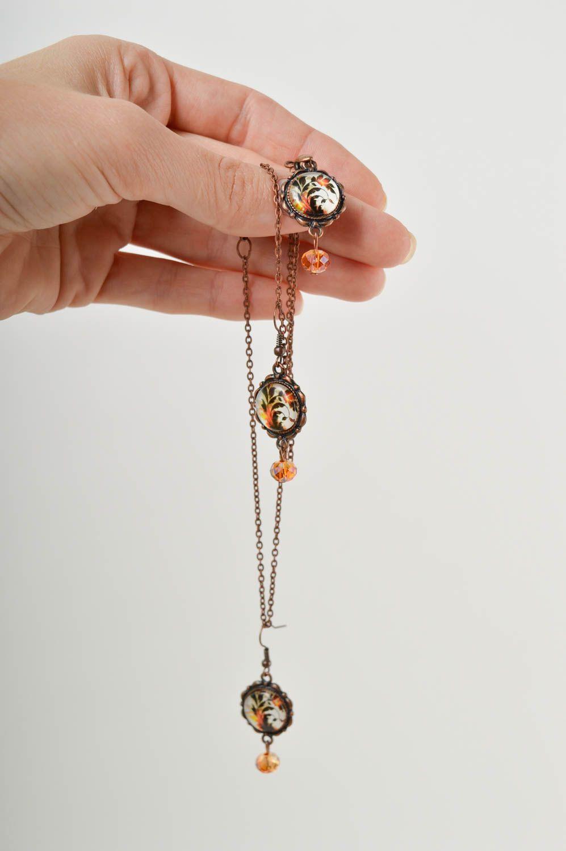 Украшения из бусин ручной работы серьги красивые кулон на шею набор из 2 штук фото 5