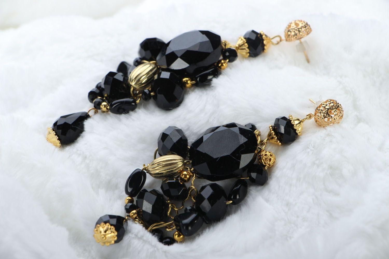 Long crystal earrings photo 2