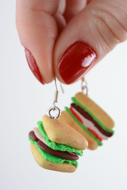 Homemade plastic earrings Sandwiches photo 5