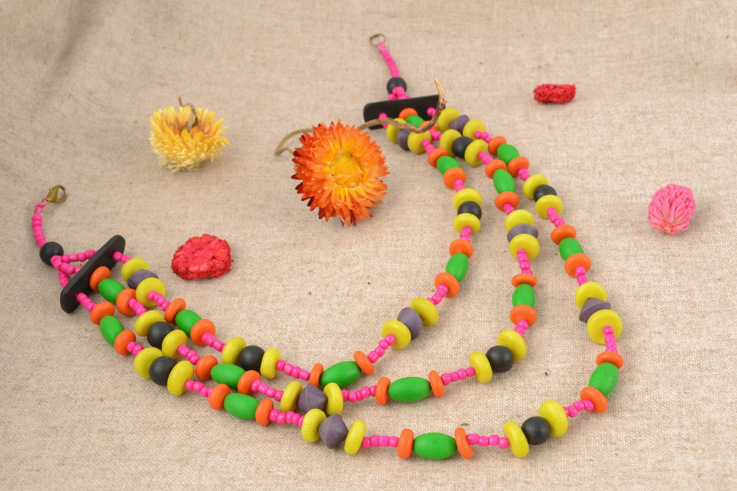 Multi-row polymer clay necklace photo 1