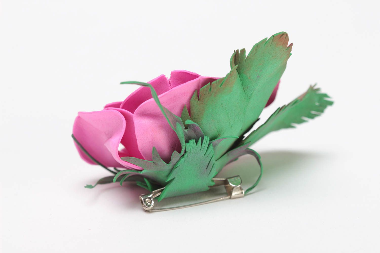 Gentle pink handmade designer foamiran fabric flower brooch Rose photo 3