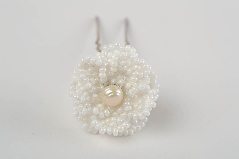 Beautiful handmade white beaded flower hairpin for modeling hair styles photo 3