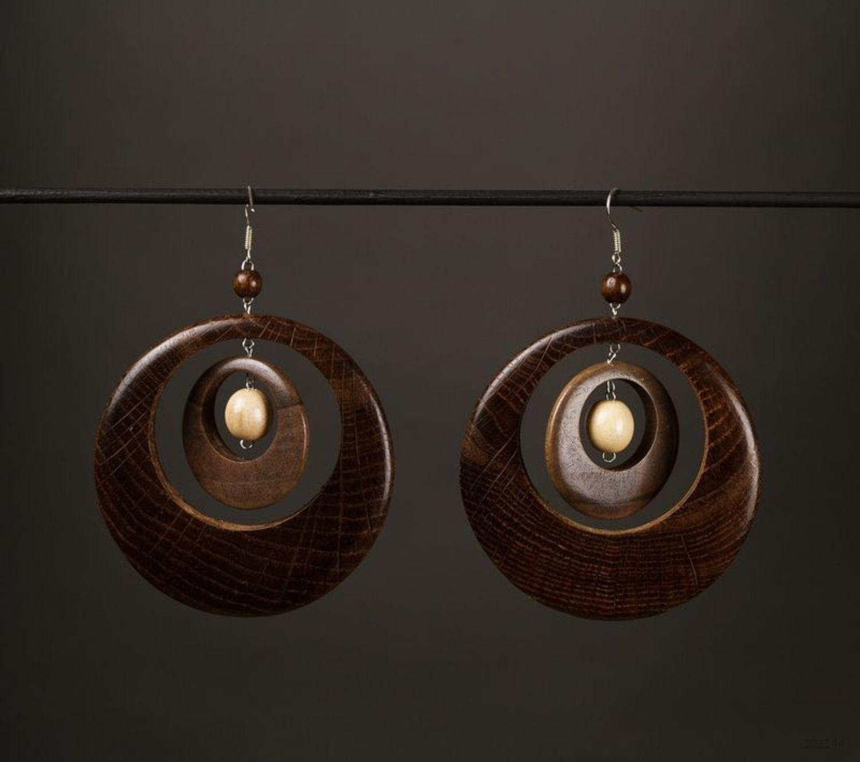 Круглые сережки из дерева  фото 1