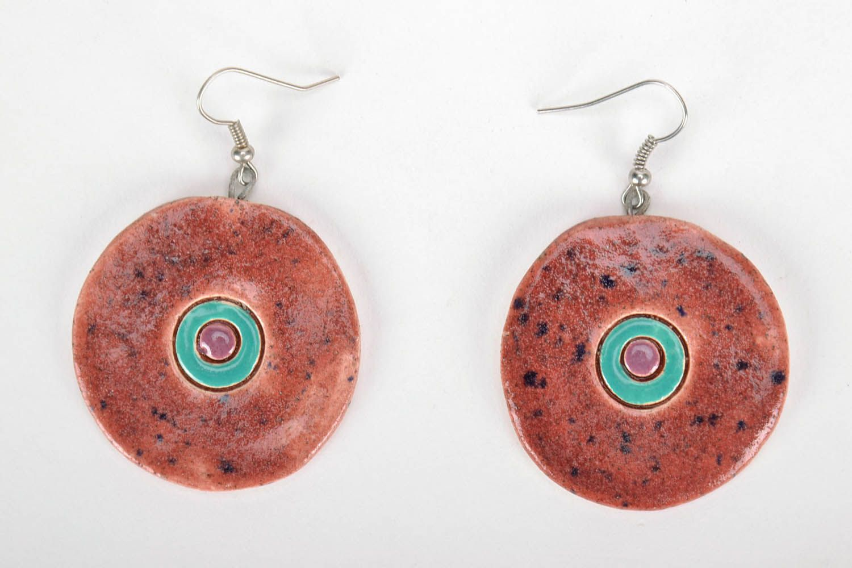 Round ceramic earrings photo 3