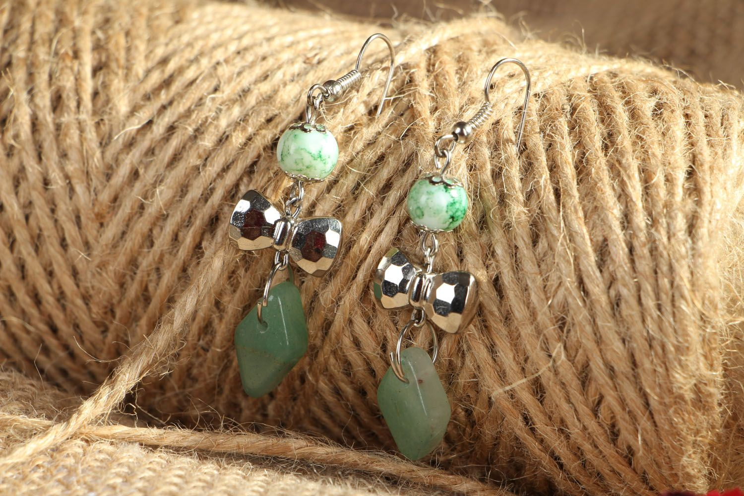 Earrings with nephrite charms photo 4
