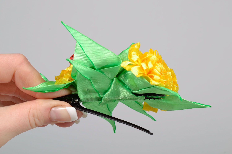 Hair clip made using kanzashi technique Yellow Flowers photo 5