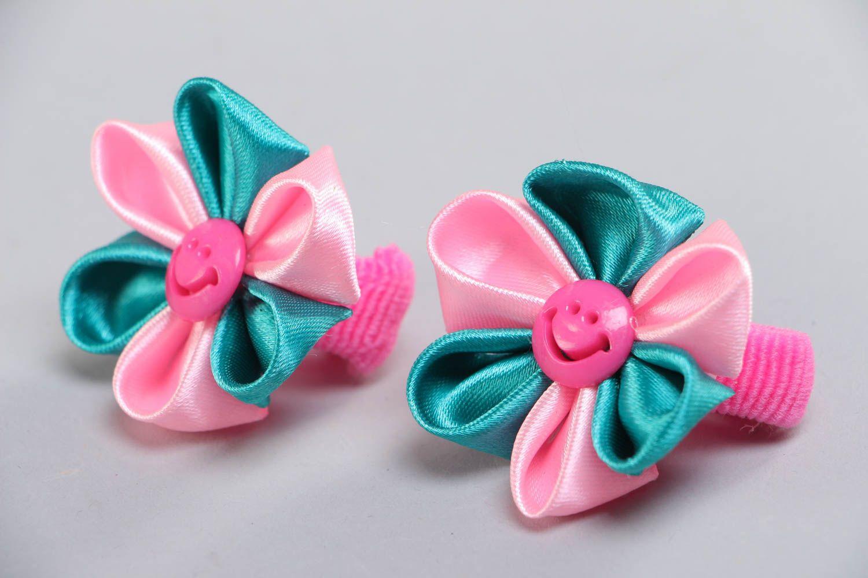 Set of handmade kanzashi ribbon flower hair ties 2 pieces for women photo 2