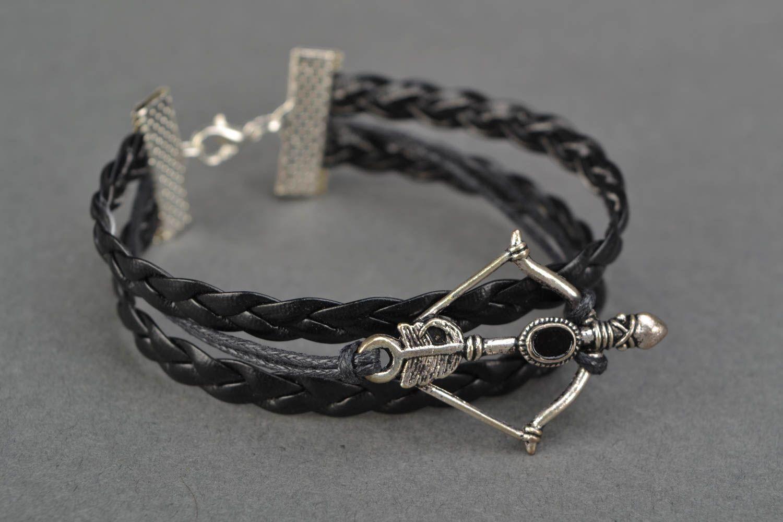 Woven genuine leather wrist bracelet with arbalest charm photo 3