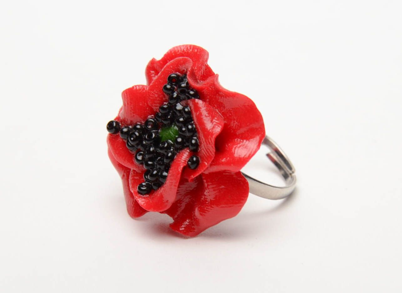 Polymer clay flower ring Poppy photo 2