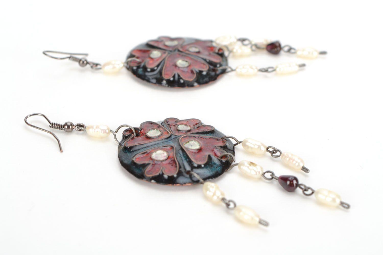 Copper earrings with enamel photo 4