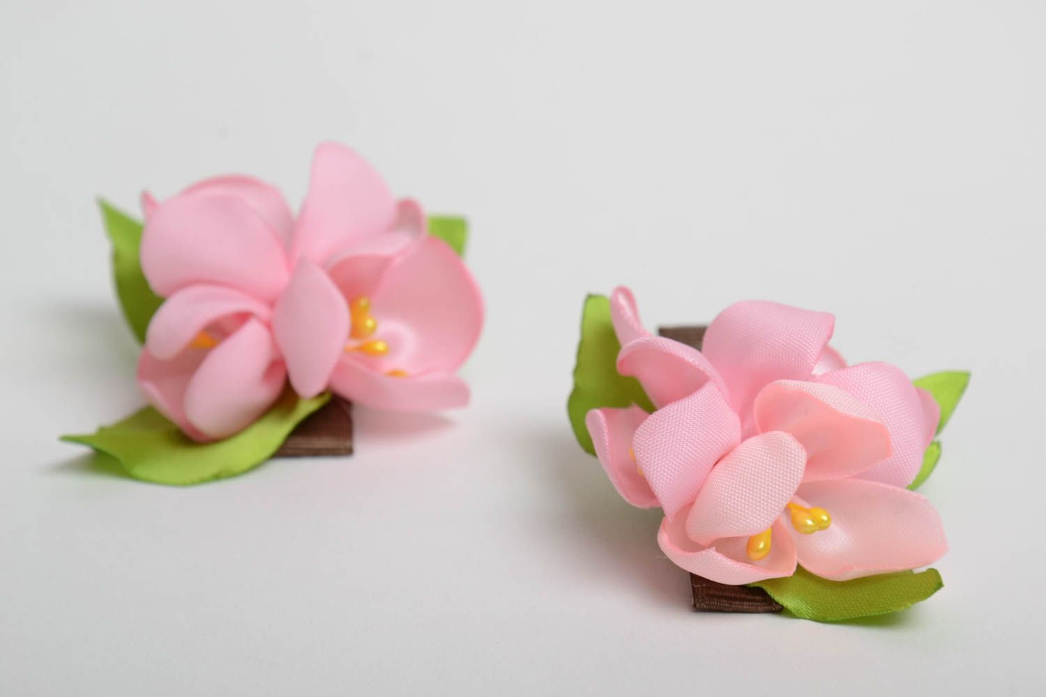 Handmade hair accessories jewelry set 2 hair clips flowers for hair gift for her photo 4