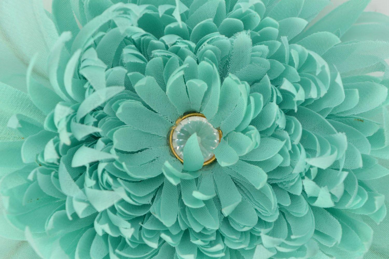 Handmade chiffon brooch Turquoise Aster photo 3