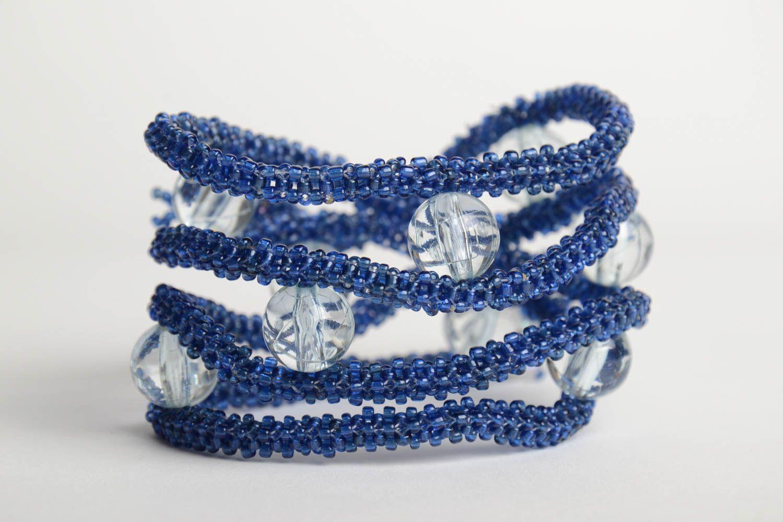 Handmade designer multi row bead woven wrist bracelet Blue Snake for women photo 5