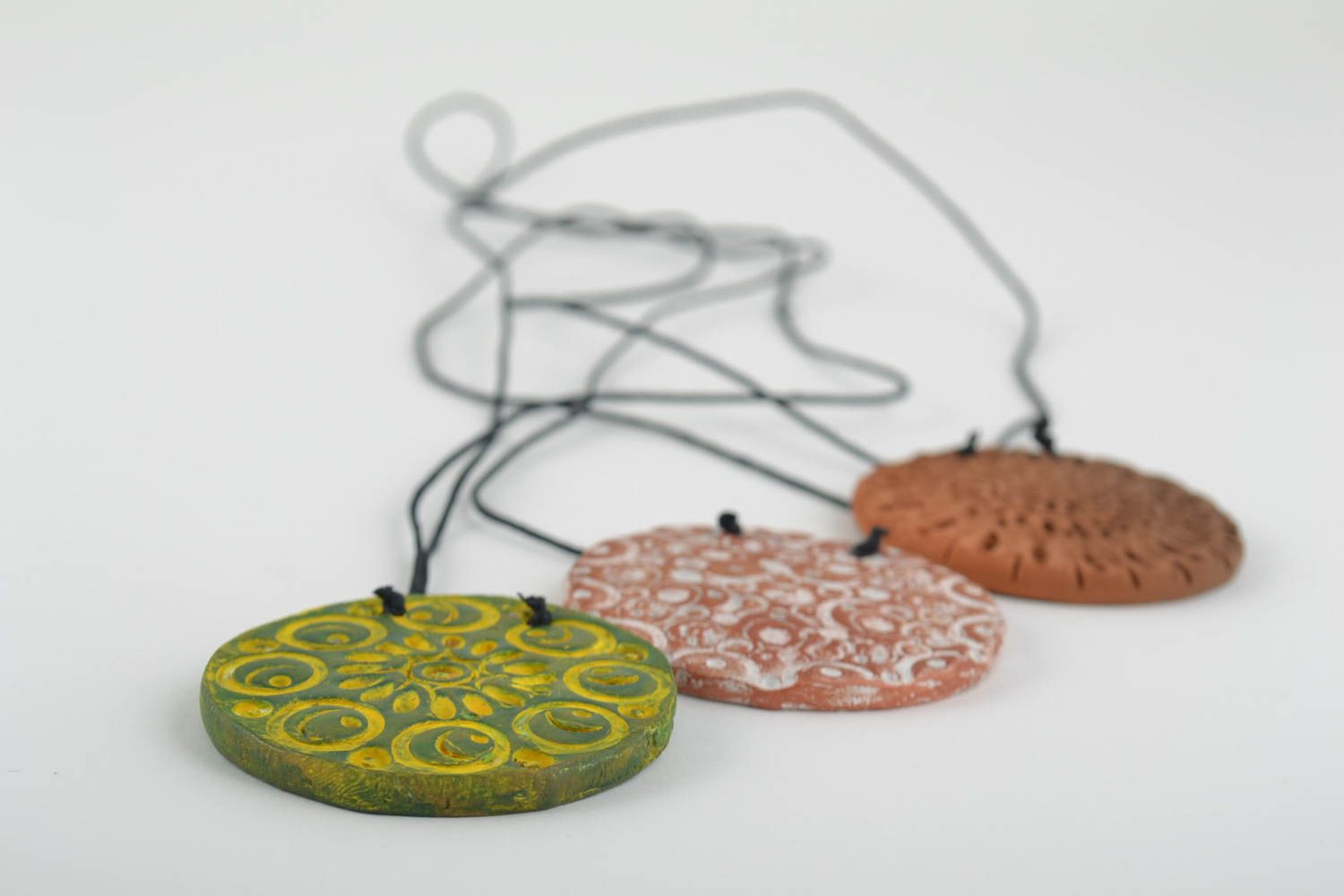 Unusual clay pendant handmade ceramic pendants 3 bright accessories gift photo 3