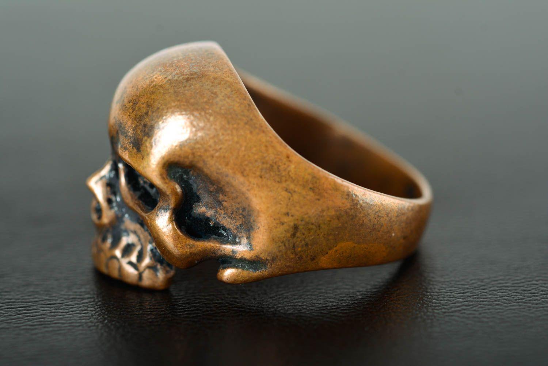 Skull ring handmade bronze ring skull jewelry handmade metal accessories photo 4