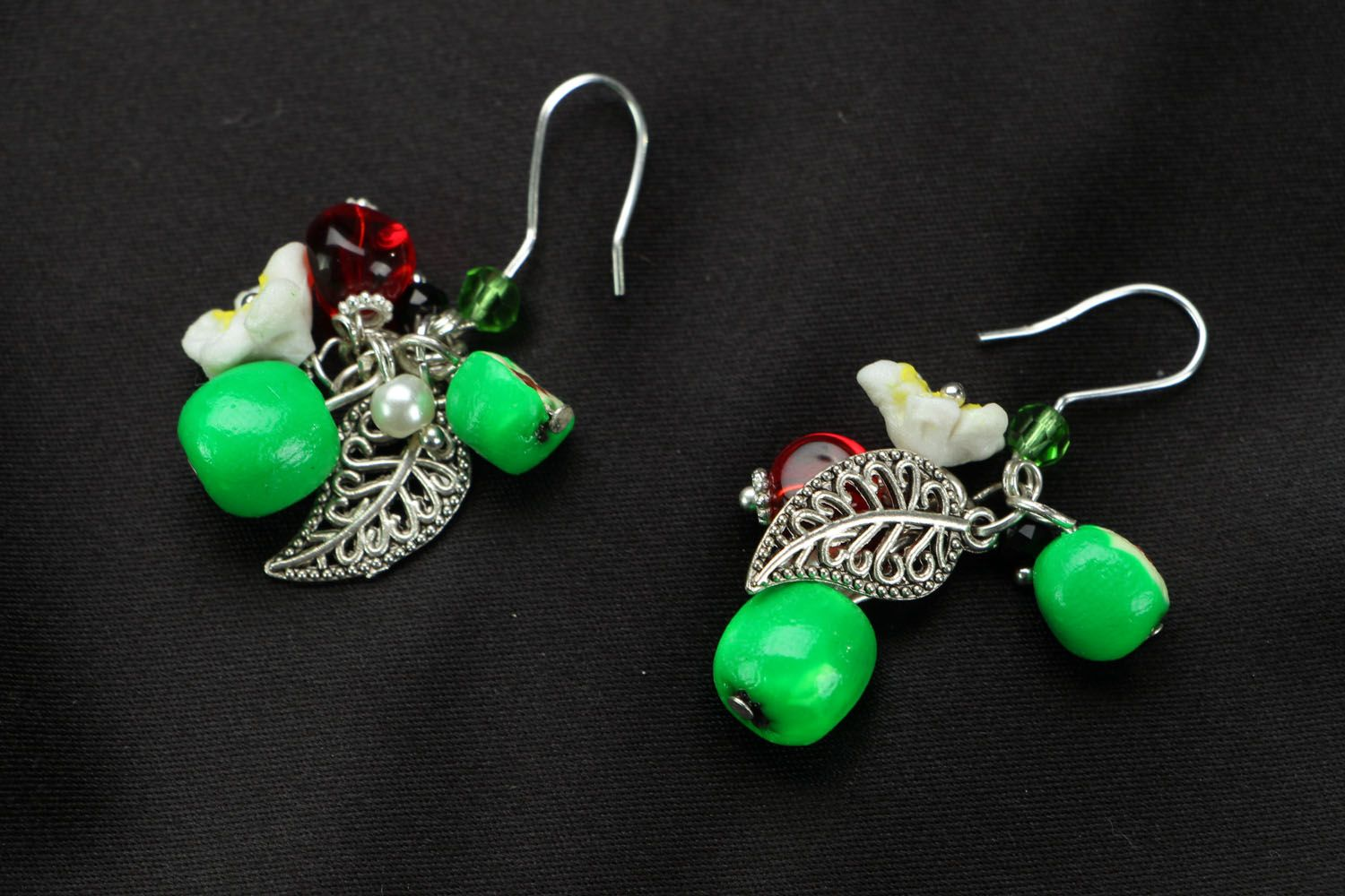 Bright earrings with charms Apples photo 1