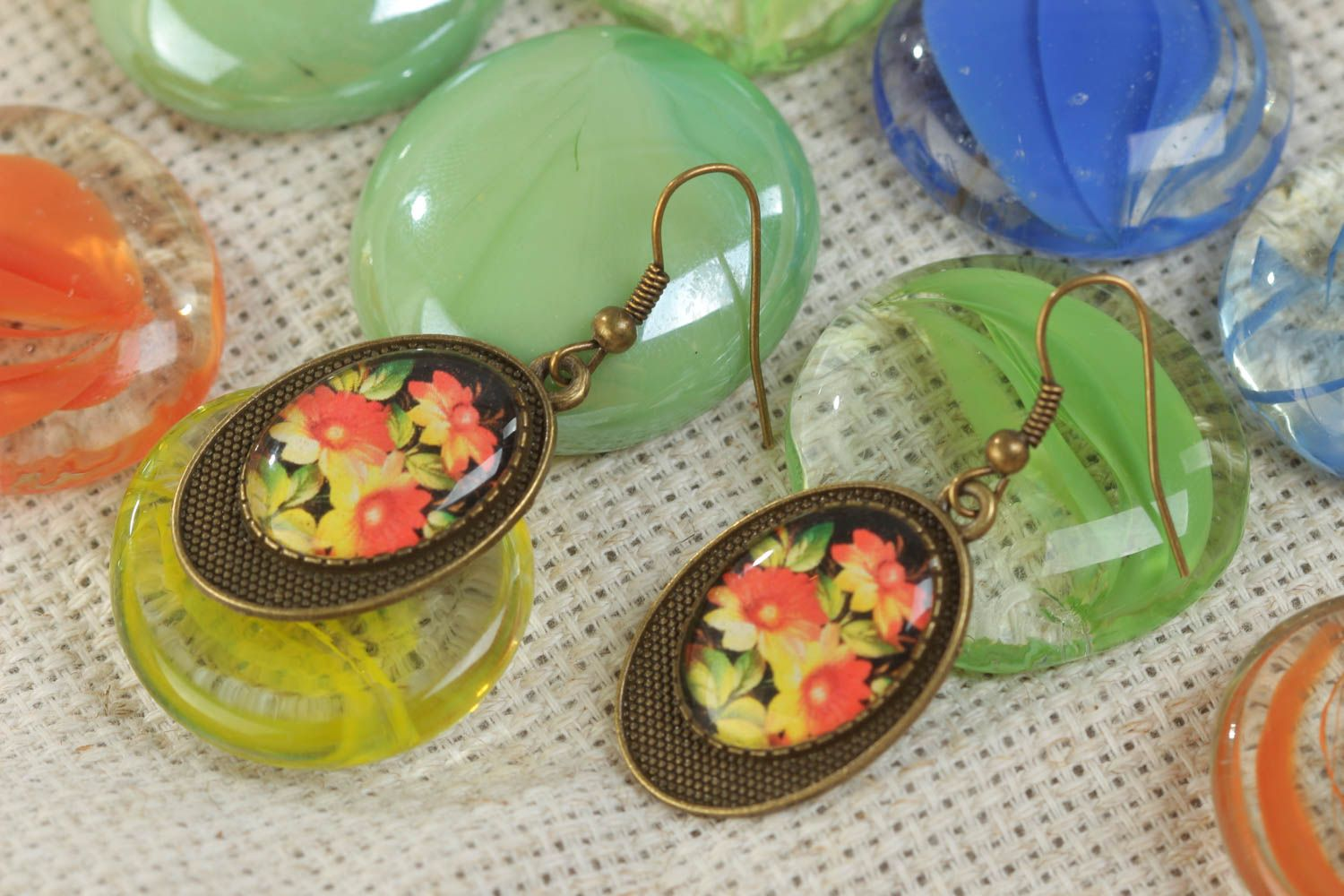 Handmade beautiful vintage earrings with glass glaze and with flowers print photo 1