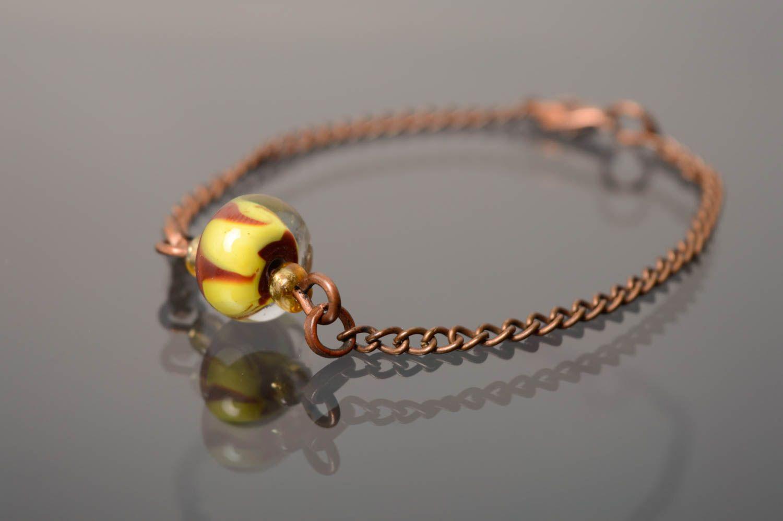 Wrist bracelet with lampwork glass bead photo 1