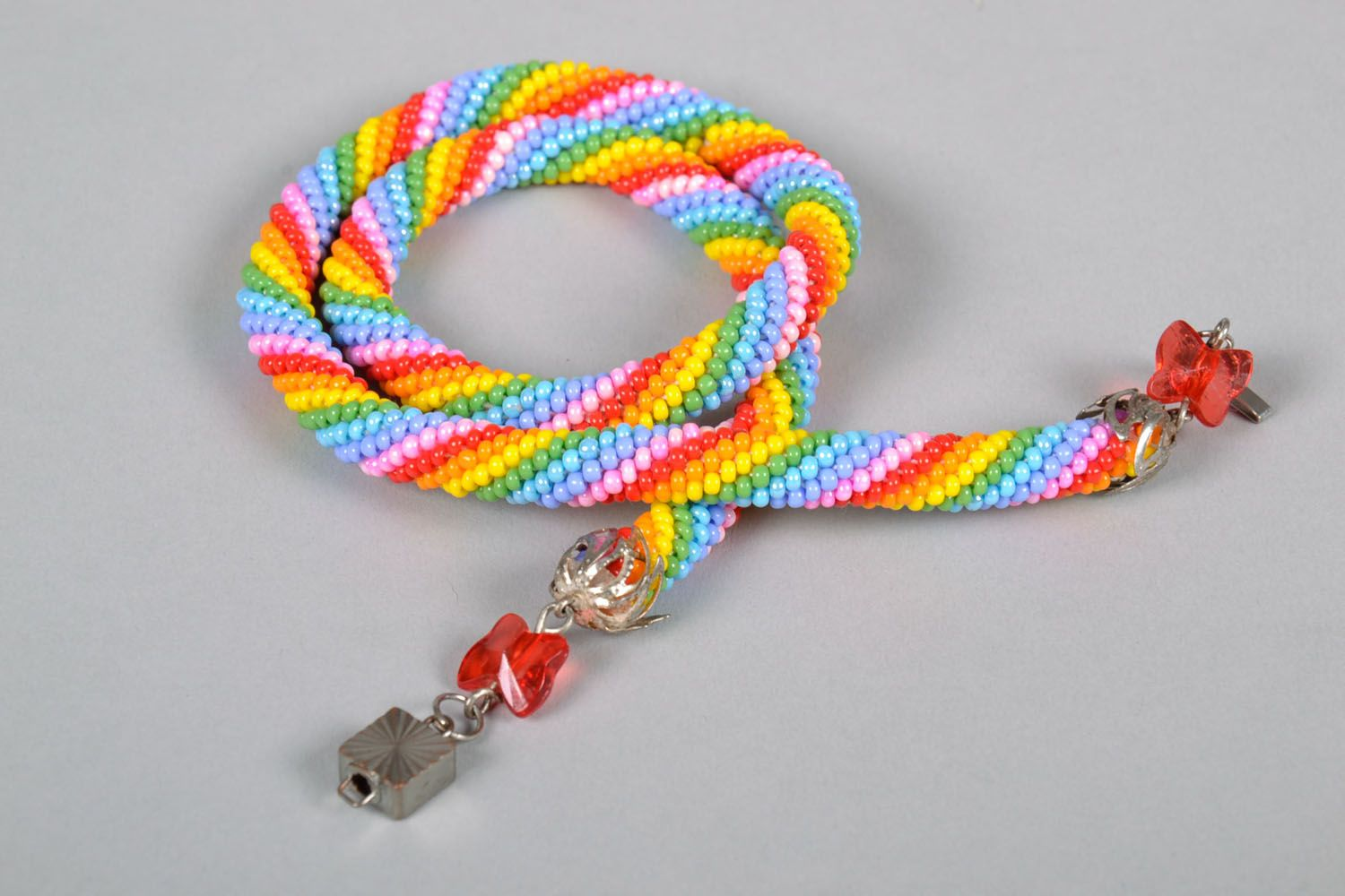 Beaded cord necklace Bright photo 5