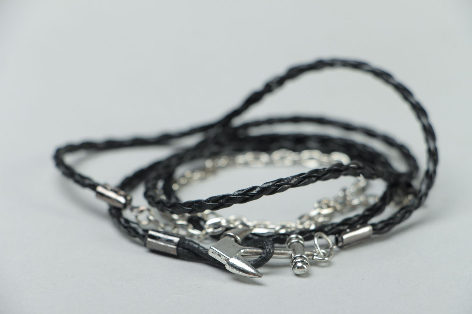 Handmade woven bracelet made of artificial leather Anchor photo 2