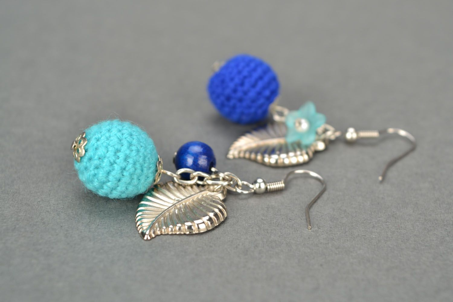 Crocheted earrings Blue Wonder photo 1