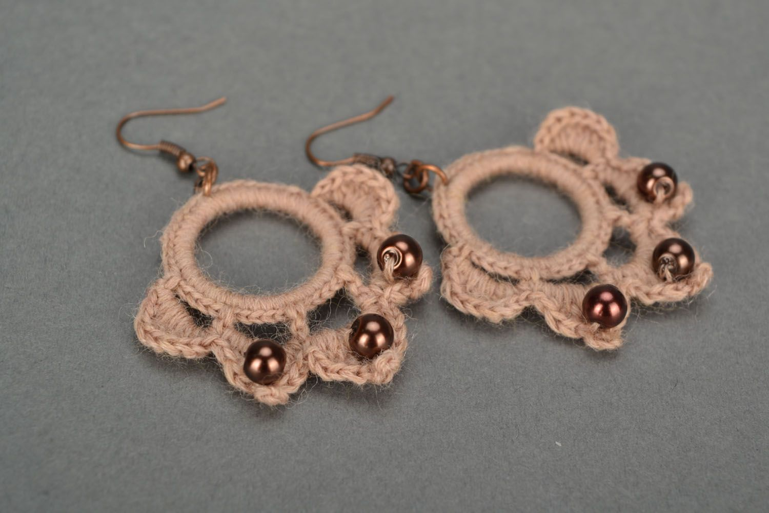 Large crocheted earrings Chocolate photo 1