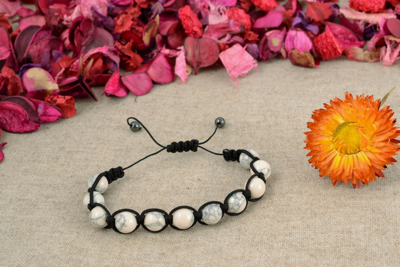 Handmade Armband aus Glasperlen Schwarz weiß foto 1