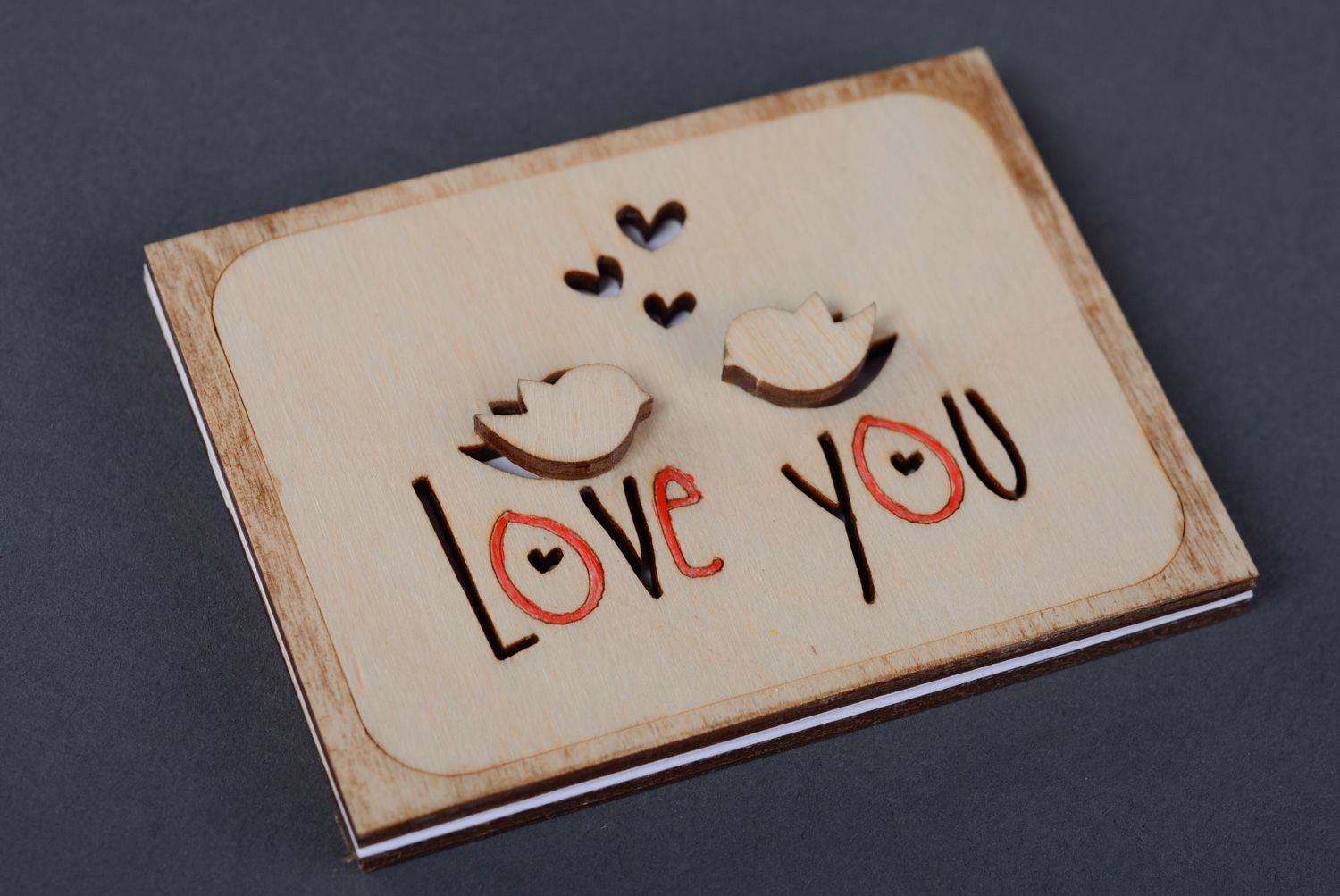 Wooden St. Valentine's day greeting card photo 3