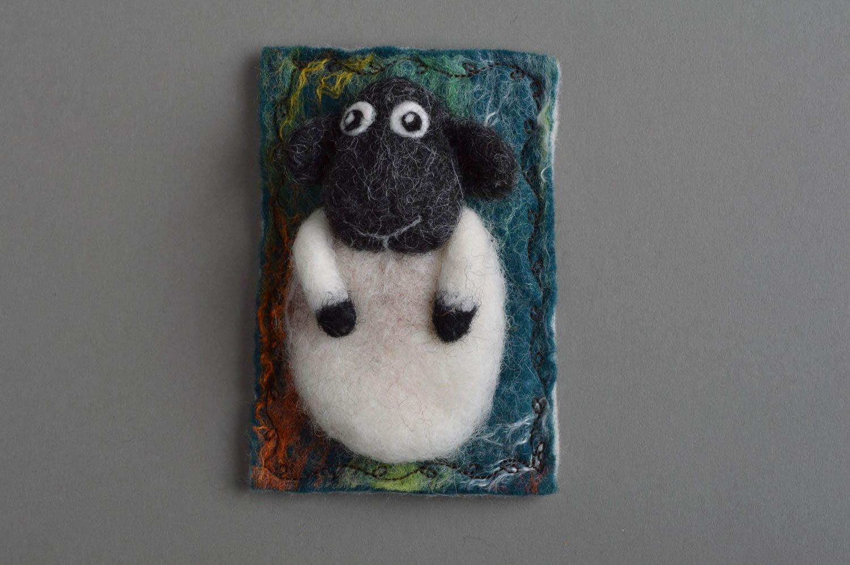 Handmade funny small decorative fridge magnet felted of natural wool lamb photo 3
