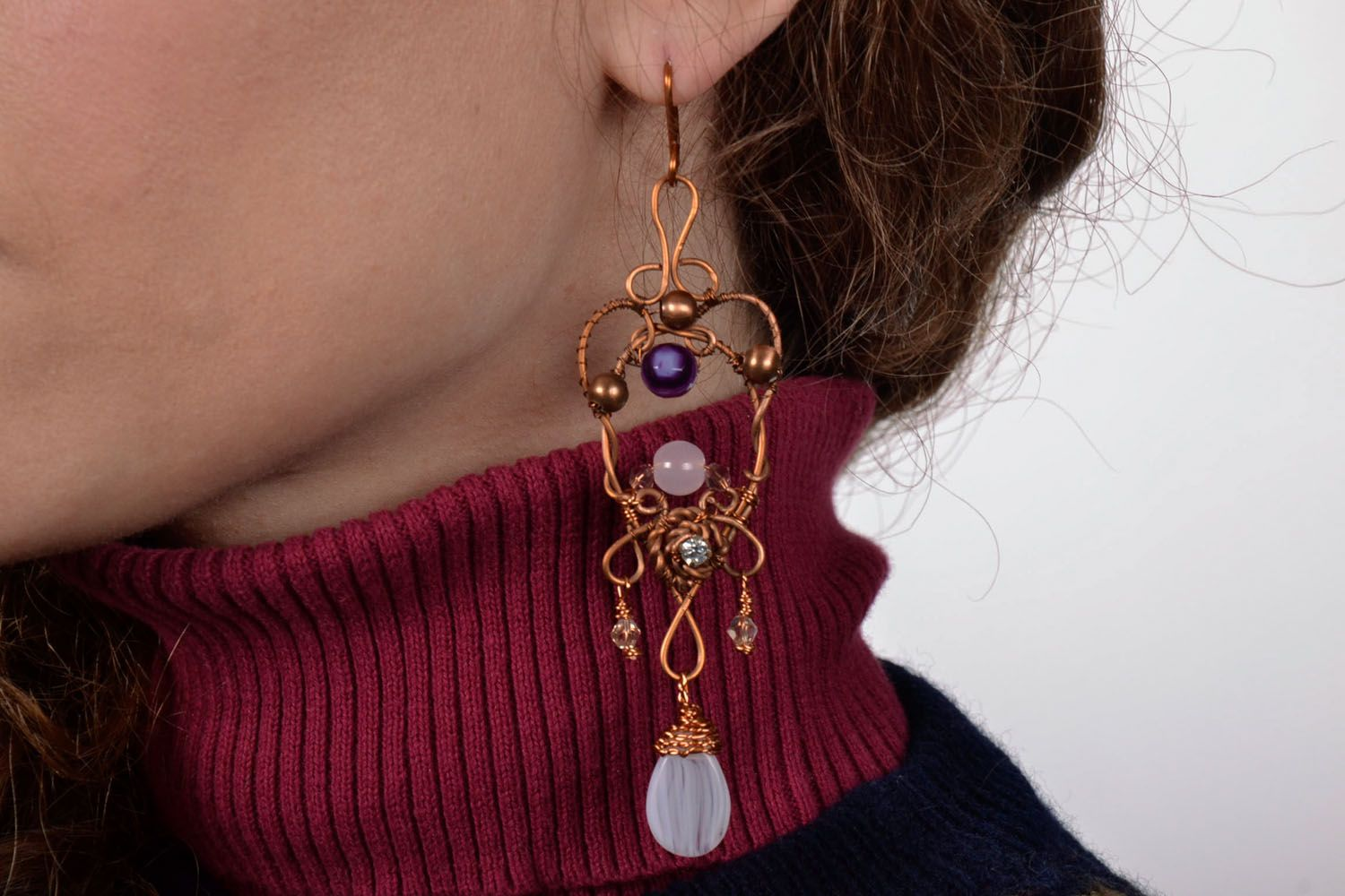 Long earrings with natural stones photo 4
