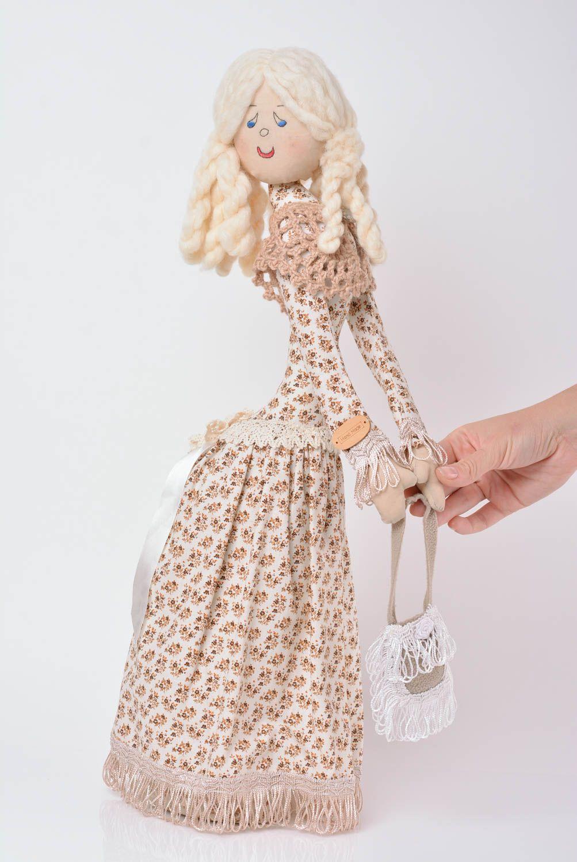Designer decorative linen doll on stand handmade home decor present for children photo 4