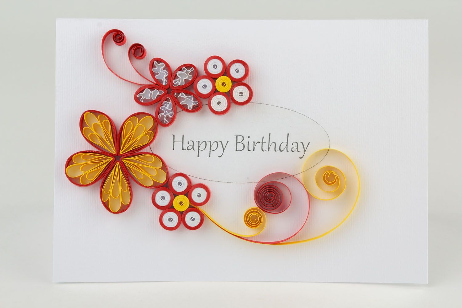 Red post card made using quilling technique photo 3