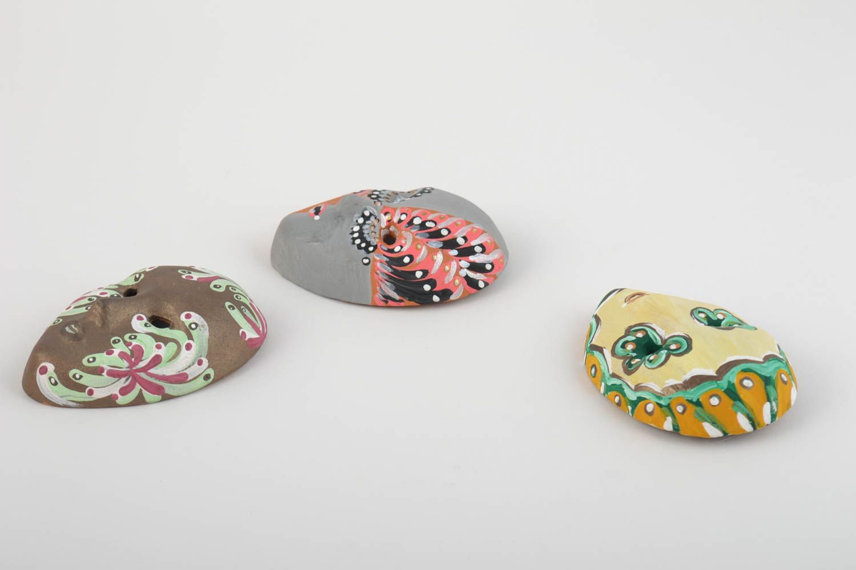 Set of 3 homemade ceramic fridge magnets in the shape of carnival masks photo 4