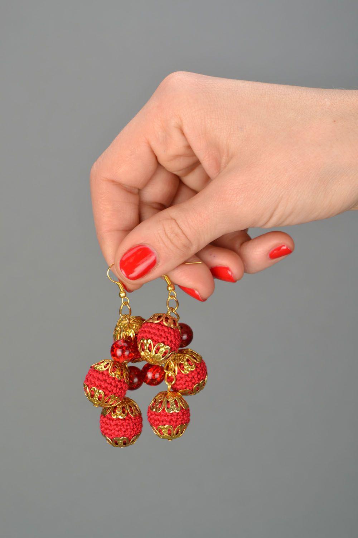Gehäkelte Ohrringe mit Anhängern Kirschbrauner Glanz foto 2